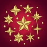 El sistema del vector del oro realista 3D protagoniza en fondo de la Feliz Navidad ilustración del vector