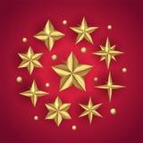 El sistema del vector del oro realista 3D protagoniza en fondo de la Feliz Navidad stock de ilustración