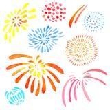 El sistema dibujado mano del ejemplo de la acuarela de color aislado estilizó los fuegos artificiales stock de ilustración