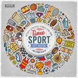 El sistema dibujado mano del vector del garabato de la historieta del deporte se opone stock de ilustración