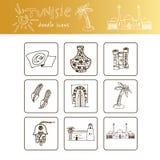 El sistema dibujado mano del viaje de Túnez con vector de los iconos aisló el ejemplo en el bosquejo blanco del garabato del fond Foto de archivo libre de regalías