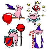 El sistema divertido del vector lindo vistió cerdos mágicos ilustración del vector