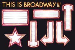 El sistema en blanco realista de la cartelera del bulbo de la carpa del vector inspiró al estilo de Broadway stock de ilustración