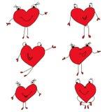 El sistema es los corazones rojos pintados, iconos para la tarjeta del día de San Valentín Fotos de archivo libres de regalías