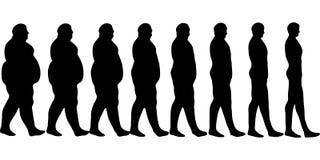 El sistema es los hombres perdidosos del peso, el concepto de una forma de vida sana, plantilla del calendario para la pérdida de Foto de archivo