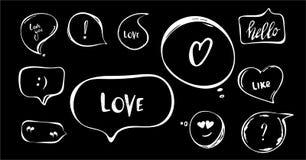 El sistema exhausto de la mano de burbujas del discurso con frases cortas escritas mano le ronronea, ama, charla, hola citas, pre stock de ilustración