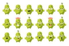 El sistema grande de los caracteres del cactus, los cactus divertidos con diversas emociones vector el ejemplo Imagen de archivo libre de regalías