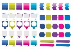 El sistema grande de los elementos planos del diseño del infographics, esquemas, cartas, botones, discurso burbujea, las etiqueta Imagen de archivo