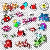 El sistema grande de tebeos de la moda de la muchacha diseña insignias del remiendo Imágenes de archivo libres de regalías