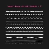 El sistema grande de tiza horizontal del vector dibujada alinea en grunge del estilo Imagen de archivo libre de regalías