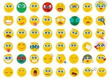 El sistema grande mega de la colección de Emoji plano hace frente a iconos de la emoción Foto de archivo