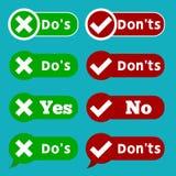 El sistema hace y no comprueba la marca de la señal y los iconos del checkbox de la Cruz Roja diseñan en fondo azul stock de ilustración