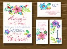 El sistema hermoso de tarjetas de la invitación con la acuarela florece elemen Fotografía de archivo libre de regalías