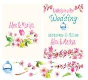 El sistema hermoso de tarjetas de la invitación con la acuarela florece elemen Fotos de archivo
