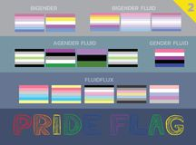 El sistema LGBTQ de Pride Flags Bigender Agender Colors fijó 2 stock de ilustración