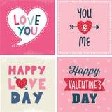 El sistema lindo de día de San Valentín tipográfico carda a la marina de guerra rosada libre illustration