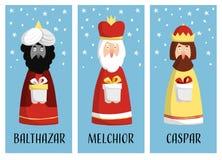El sistema lindo de tarjetas de felicitación de la Navidad, regalo marca con etiqueta con tres unos de los reyes magos Imagen de archivo