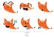 El sistema lindo de zorros juguetones dirige con diversas emociones Oh ey, ámele, meh, fml, café de la necesidad Illustratio lind Fotografía de archivo libre de regalías