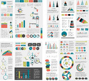 El sistema mega de las cartas de elementos del infographics, gráficos, cartas del círculo, diagramas, discurso burbujea Plano y d ilustración del vector