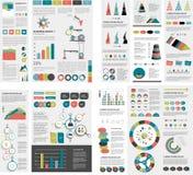 El sistema mega de las cartas de elementos del infographics, gráficos, cartas del círculo, diagramas, discurso burbujea Plano y d Fotografía de archivo