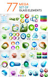 El sistema mega de las formas abstractas de cristal diseña elementos Imagen de archivo