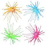 El sistema moderno de la pintura del vector de la acuarela abstracta que fluye-abajo colorida en colores pastel apacible cae manc Fotos de archivo libres de regalías