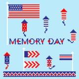 El sistema moderno del monumento, Día de la Independencia, iconos del extracto del arte del pixel, aisló el fondo Imágenes de archivo libres de regalías