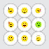 El sistema plano de la cara del icono de la sonrisa, tiene una buena opinión, Joy And Other Vector Objects También incluye la mar Fotos de archivo libres de regalías