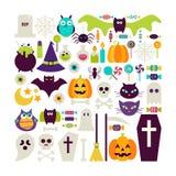 El sistema plano del vector del estilo de los días de fiesta de Halloween se opone el ove Foto de archivo