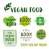 El sistema retro de 100 bio, orgánico, gluten libera, eco, etiquetas sanas de la comida ilustración del vector