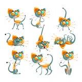 El sistema robótico lindo del gato, animal divertido del robot en diversas acciones vector ejemplos en un fondo blanco ilustración del vector