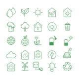 El sistema simple de Eco relacion? la l?nea iconos del vector Contiene los iconos tales como el coche eléctrico, el calentamiento stock de ilustración