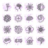 El sistema simple de inteligencia artificial relacionó la línea iconos AI e Foto de archivo