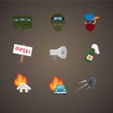 El sistema simple de la protesta relacionó iconos planos del vector Imagen de archivo libre de regalías