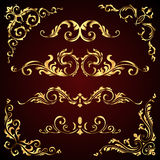 El sistema victoriano del vector de elementos adornados de oro de la decoración de la página le gusta banderas, de marcos, de los Fotografía de archivo