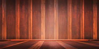 El sitio con un piso de madera y las paredes de ladrillo para el montaje de la exhibición del producto, puede ser utilizado para  Fotos de archivo