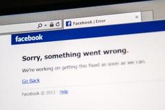 El sitio de Facebook está abajo Imágenes de archivo libres de regalías