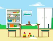 El sitio de niños con muebles y juguetes, con una tabla y las sillas, hojas dispersadas para dibujar Ejemplo del vector en fla de ilustración del vector