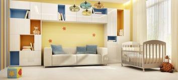El sitio de niños hermosos con una cama fotografía de archivo