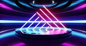 El sitio extranjero moderno futurista llevado los lasers Hall Glowing Blue Purple Neon de Sci Fi del triángulo del fondo de la na ilustración del vector