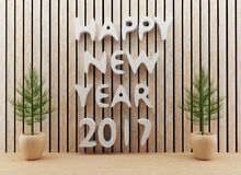 El sitio interior de diseño moderno de la Feliz Año Nuevo 2017 en 3D rinde imagen stock de ilustración