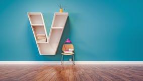 El sitio para aprender la letra V ha diseñado un estante libre illustration