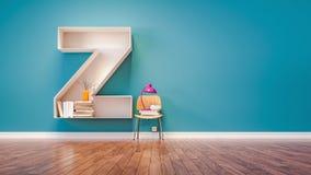 El sitio para aprender la letra Z ha diseñado un estante stock de ilustración