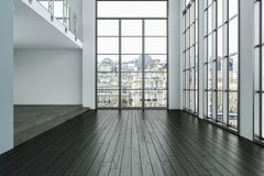 El sitio vacío del desván con blanco empareda ventanas grandes y el piso de madera stock de ilustración