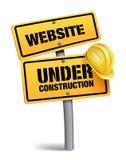 El sitio web bajo construcción firma adentro el fondo blanco stock de ilustración