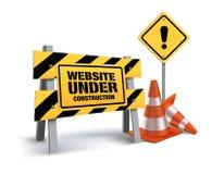 El sitio web bajo construcción firma adentro el fondo blanco
