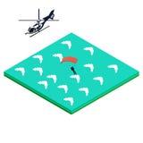 El Skydiver salta del helicóptero Stock de ilustración