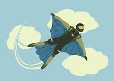 El Skydiver se divierte enfermedad descendente del cielo de la persona de la libertad del paracaídas extremo Fotografía de archivo