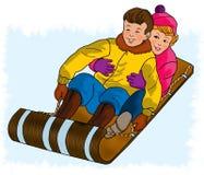 El sledding de los niños Fotografía de archivo