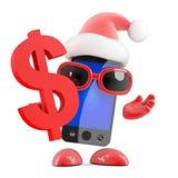 el smartphone de 3d Papá Noel ama dólares de EE. UU. Foto de archivo libre de regalías